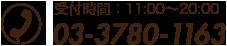 受付時間:14:00〜23:00 03-3780-1163